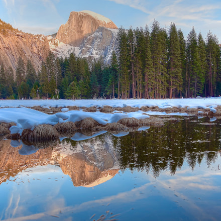 Half Dome Reflection in, Nikon D5300, AF-S DX VR Nikkor 18-55mm f/3.5-5.6G II