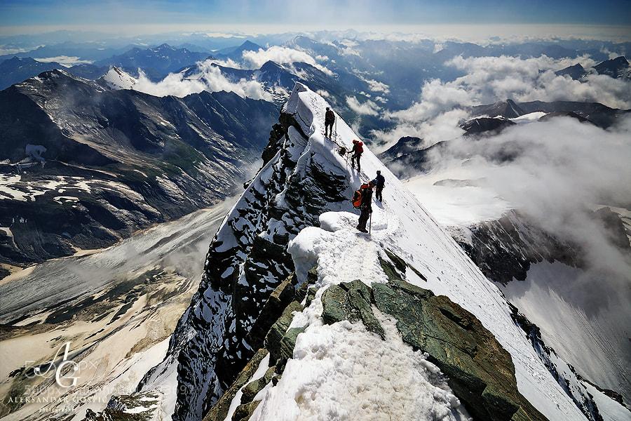 Dizzying depths of Grossglockner (3798m), highest Austrian mountain. 1600m lower is the longest glacier in Austria and the Eastern Alps, 8.5km long Pasterze
