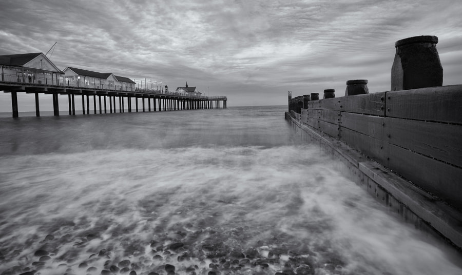 Southwold Beach in B&W