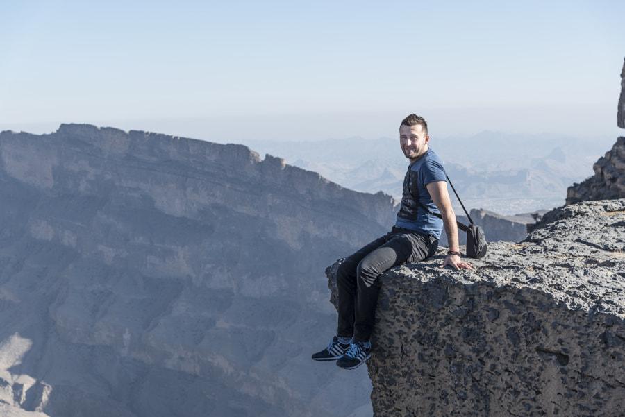 Man on Jabel Shams Cliff