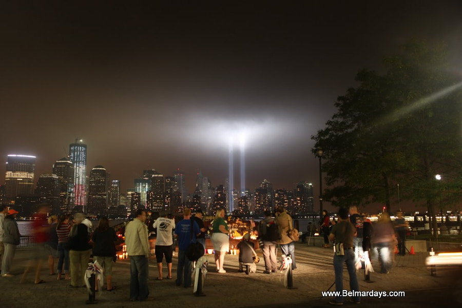 Tribute of Lights World Trade Center Freedom Tower Sunday  9-9-11