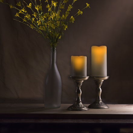 Rustic candles and flowers, Nikon D7100, AF-S Zoom-Nikkor 28-70mm f/2.8D IF-ED