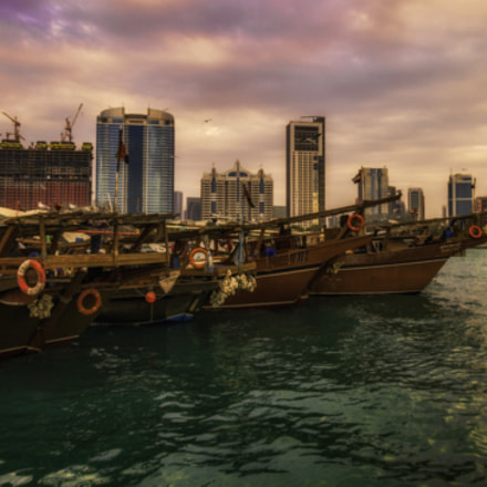 Sunset over the dhows, Canon EOS 7D, Canon EF 15mm f/2.8 Fisheye