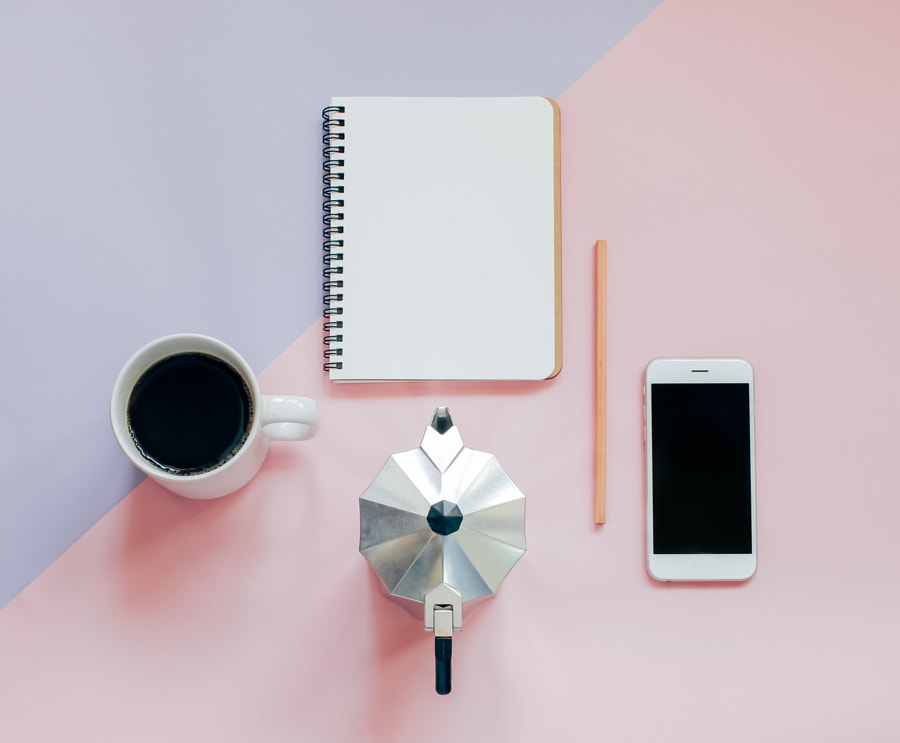 Creative flat lay photo of workspace desk by Nuchy Lee on 500px.com