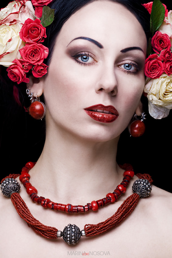 "Photograph Portrait with Roses and Beads by Marina ""Loki"" Nosova on 500px"