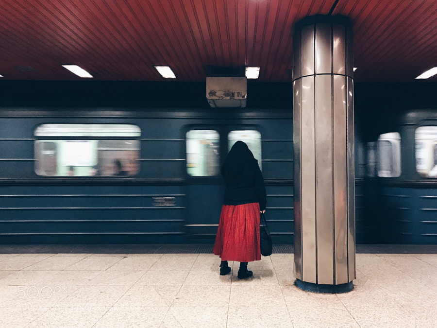 Red skirt woman