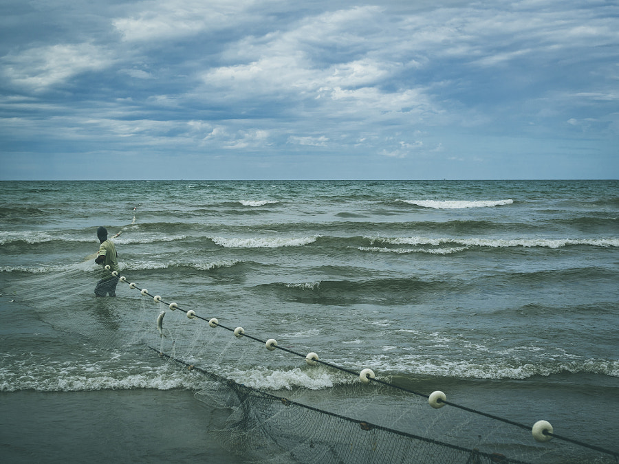 A man against the sea.