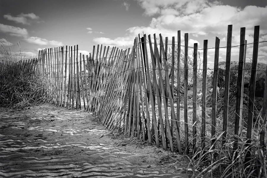 A beach fence in Evanston, Illinois.