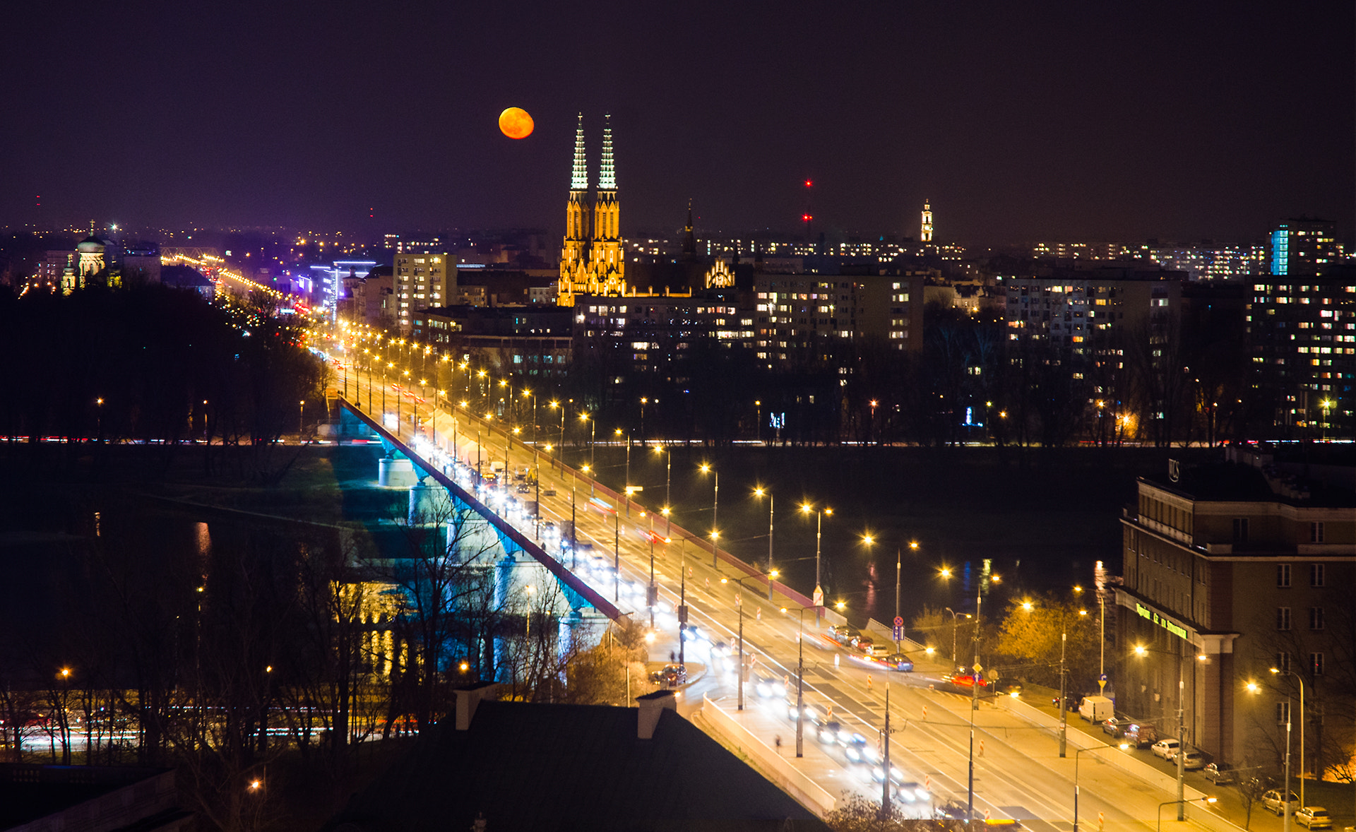 Photograph Moon Rising Over Warsaw by Mike Lesaski on 500px