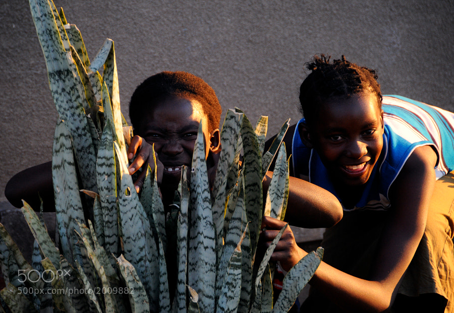 Two girls were playing hide and go seek with us one afternoon in Zambia.