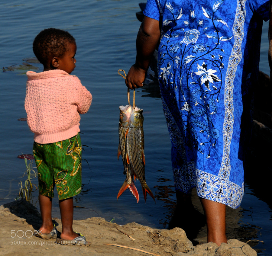 A mother holding a fresh catch of Tiger Fish from the Chobe River between Botswana, Zambia, Zimbabwe and Angola. Her little girl was interested in the transaction taking place.