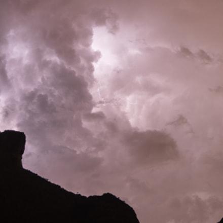 Gavea Rock lightning in clouds