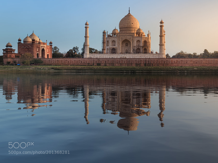 Taj Mahal reflection in Yamuna river