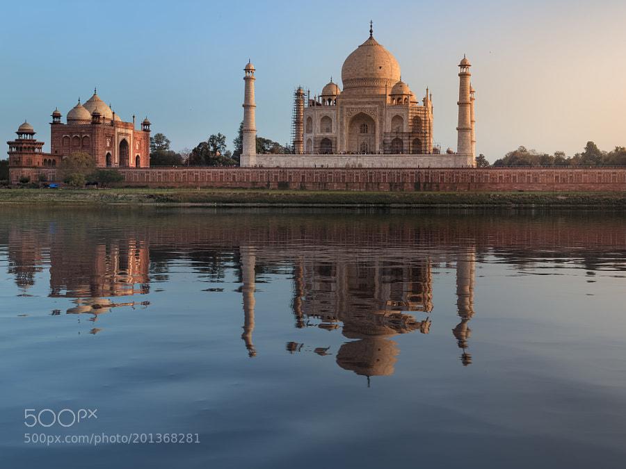 Taj Mahal reflection in Yamuna river