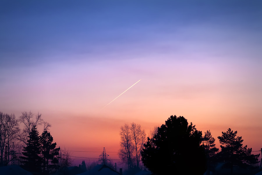 the morning plane at red sunrise