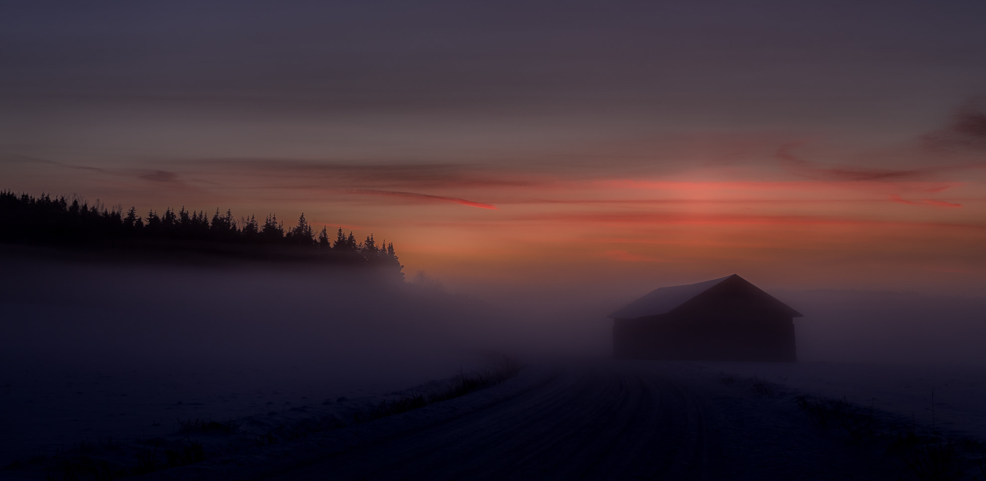 Photograph Barn in the mist, after sunset by Tapio Kaisla on 500px