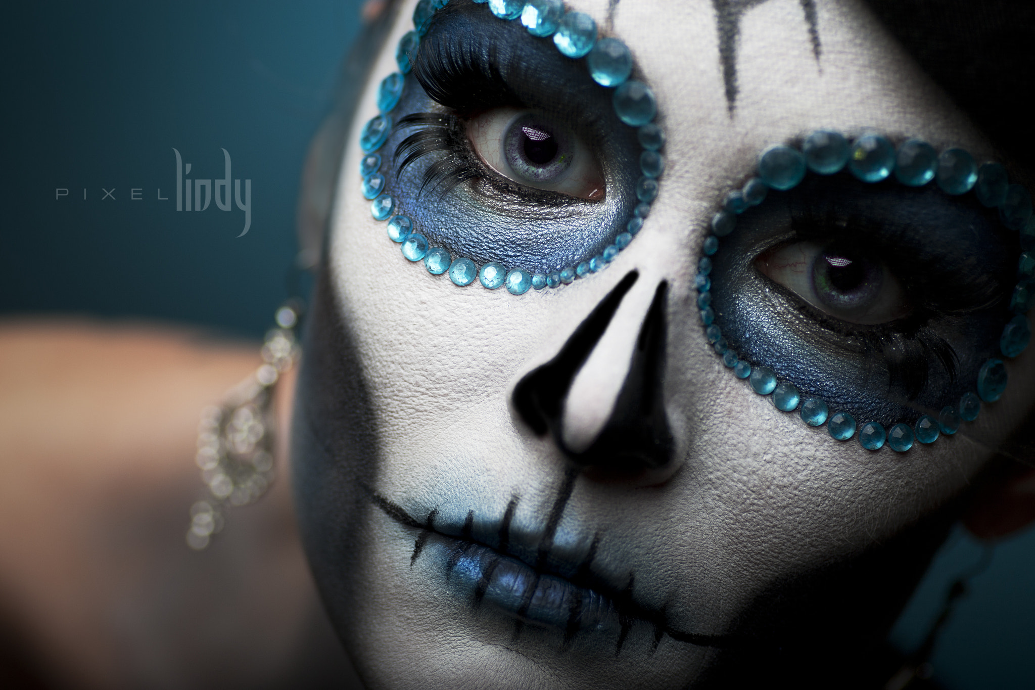 Photograph Blue Sugar Skull by Lindy Melendez on 500px
