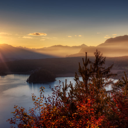 Sunset above lake Faak (Austria)