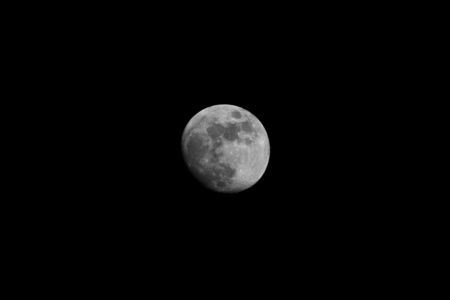and again - b&w moon