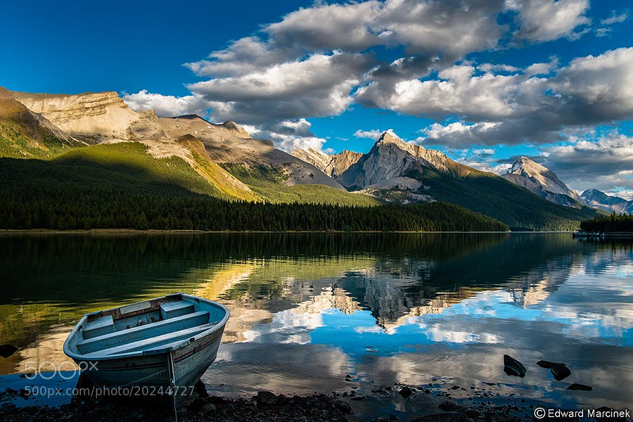 Photograph Alone at Maligne Lake by Edward Marcinek on 500px