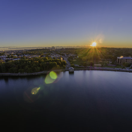 Sunrise over Boston Skyline, DJI FC550RAW, LUMIX G FISHEYE 8/F3.5
