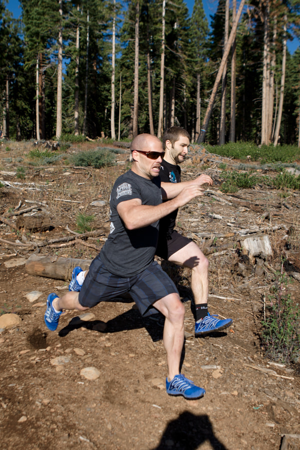 Chris Spealler and Pat Barber race to the finish in the second event at the CrossFit Tahoe Team Challenge