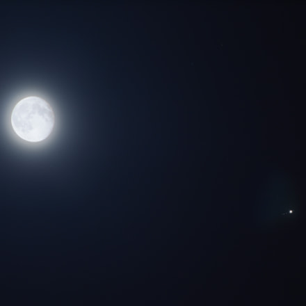 Moon and Jupiter conjunction, Canon EOS 60D, Canon EF 75-300mm f/4-5.6 USM