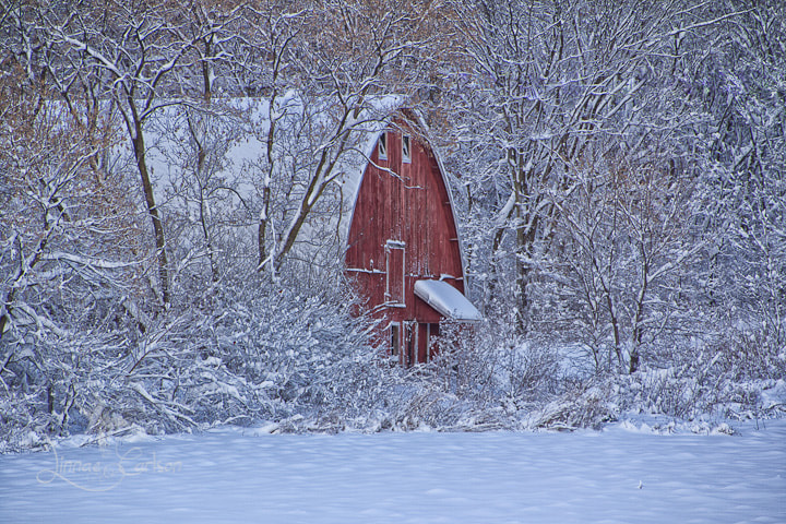 Photograph Red Barn In Winter. by Linnae Carlson on 500px