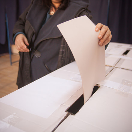 Person voting at polling, Canon EOS 5D MARK II