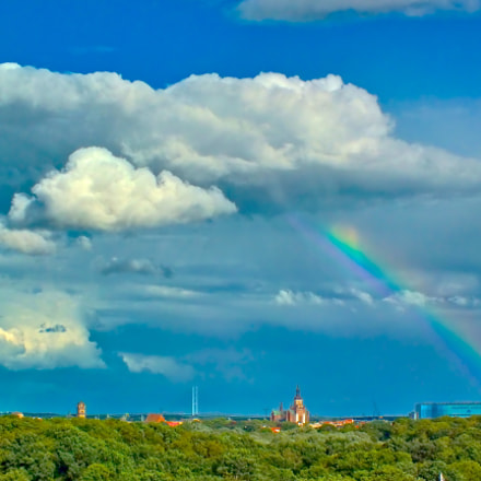 Skyline Stralsund with Rainbow, Fujifilm FinePix HS35EXR