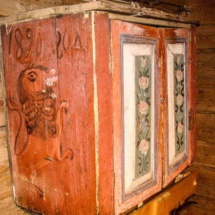 Decorated Primitive Wooden Cabinet, Sony DSC-W90