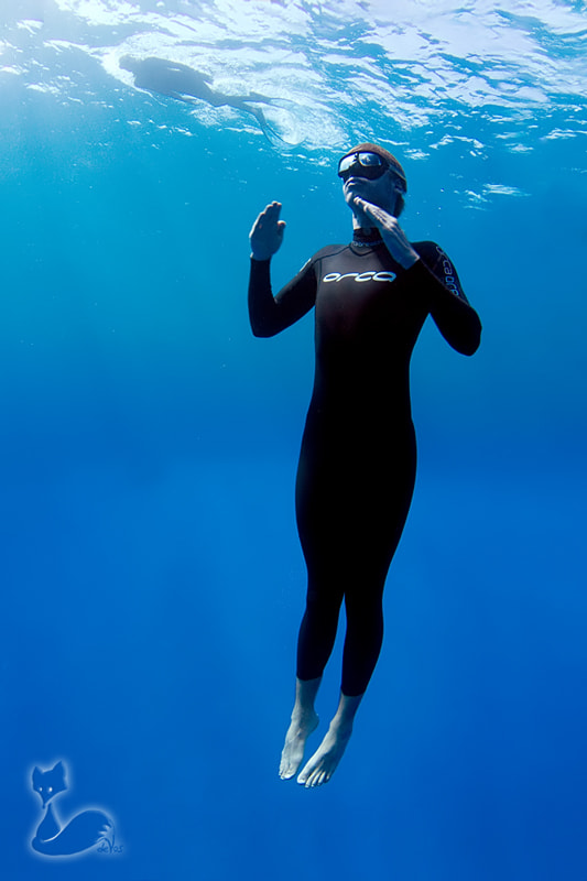 Chris Marshall during a no fins dive in Dahab, Egypt