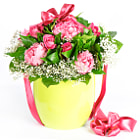 colorful flowers bouquet with ribbon. roses and peonies