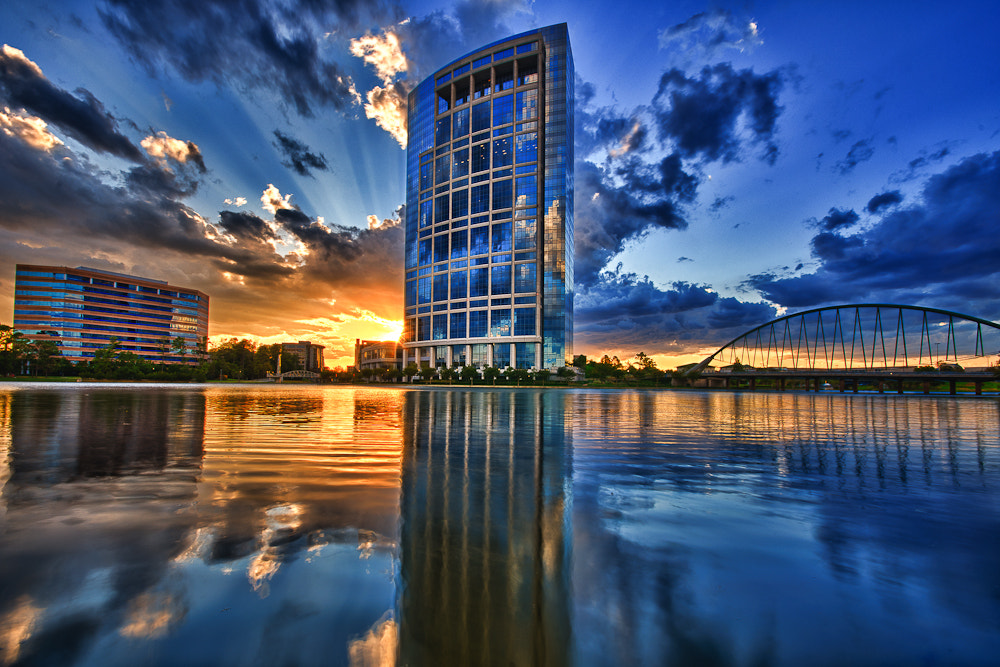 Photograph Anadarko Tower reflected in Lake Robbins by Joel Olives on 500px