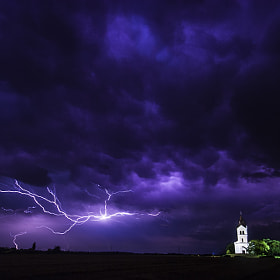 Lightning and church by F Levente (Levente)) on 500px.com