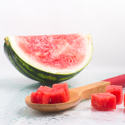 Refreshing Watermelon Pieces, Canon EOS REBEL T5I, Sigma 50mm f/2.8 EX