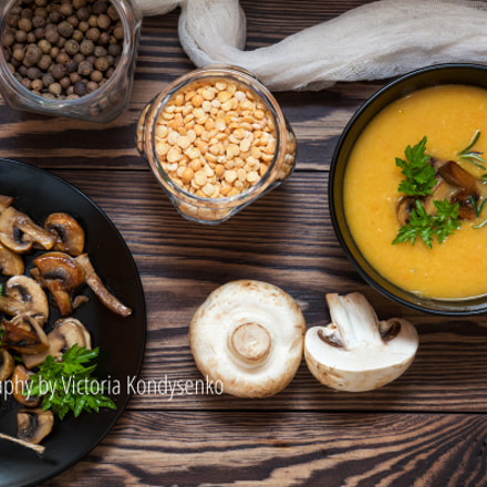 Pea soup with mushrooms, Canon EOS 80D, Canon EF-S 17-55mm f/2.8 IS USM