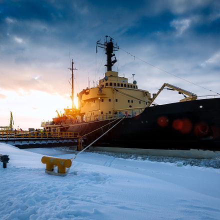 Sunset and the Icebreaker