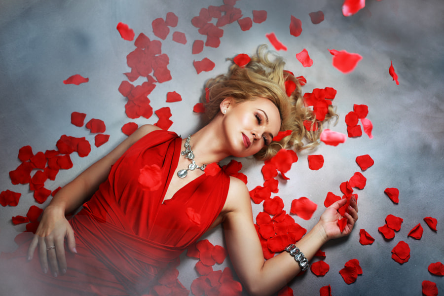 beautiful blond woman in red dress by Olena Zaskochenko on 500px