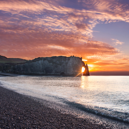 Sunset @ Etretat, Canon EOS 700D, Canon EF-S 18-55mm f/3.5-5.6 IS STM