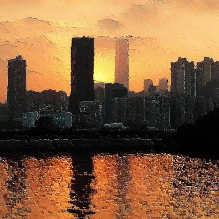 Sunset over Kowloon Bay, Panasonic DMC-FX100