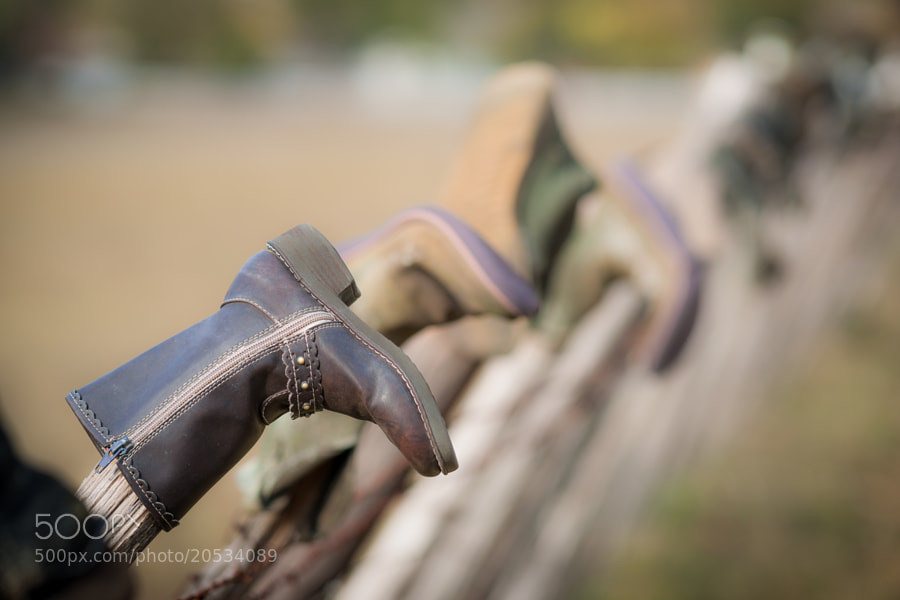 One of many boots on this cedar fence near Hunt