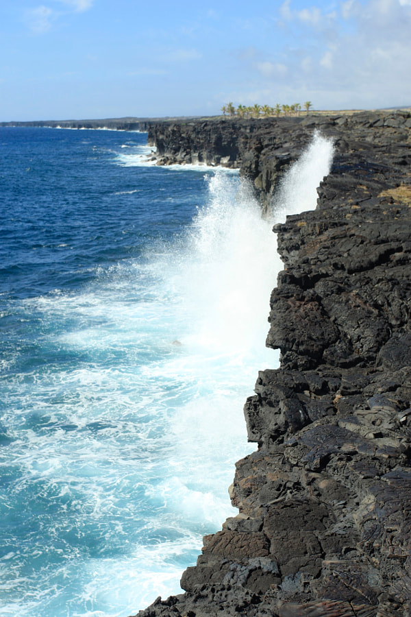Waves Splashing at Hawaii Volcano National Park