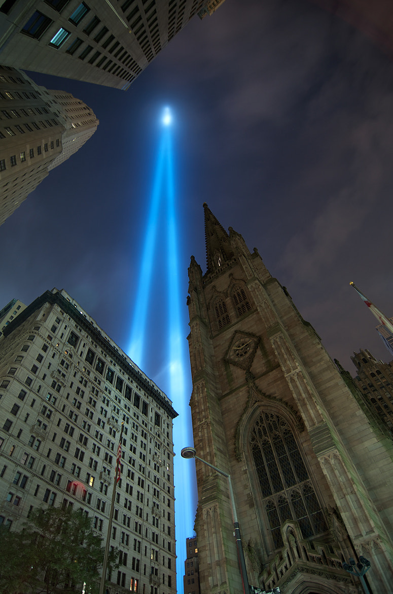 Photograph Trinity Church and the Tribute in Light by Kris Koeller on 500px