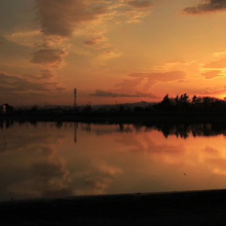 Sunset lake, Canon EOS KISS X7, Canon EF-S 24mm f/2.8 STM
