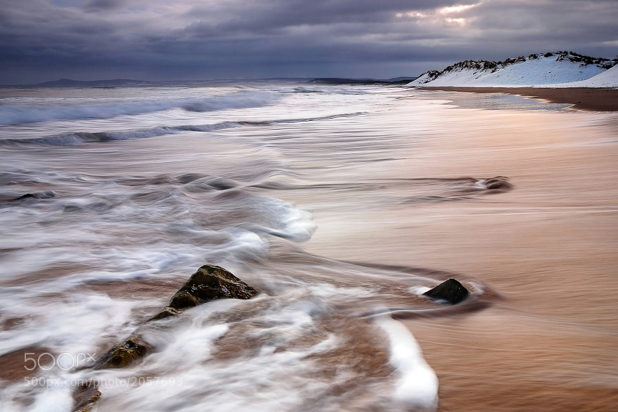 Winter dawn from the East Beach in Lossiemouth, Moray Scotland.