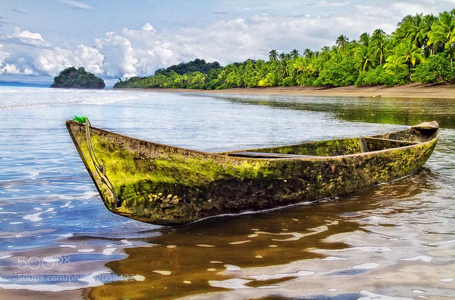 FIsherman's canoe near Cabo Corrientes, Choco, Colombia.