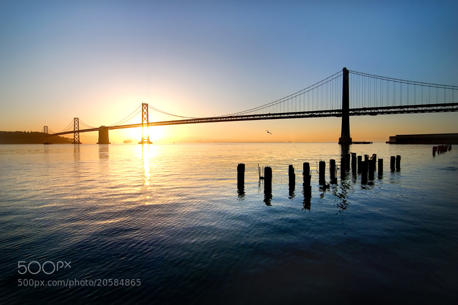Bay Bridge from San Francisco, CA at sunrise.