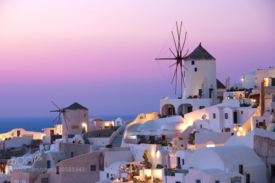 Oia, Santorini, Greece just after sunset.