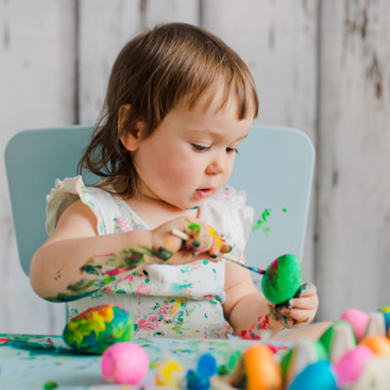 Baby Painting Easter Eggs, Nikon D800